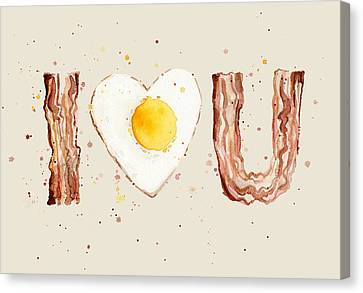 Bacon Canvas Print - Bacon And Egg I Heart You Watercolor by Olga Shvartsur