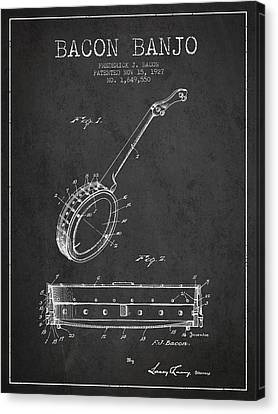 Bacon Banjo Patent Drawing From 1929 - Dark Canvas Print by Aged Pixel