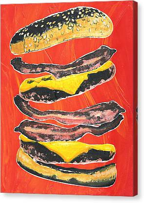 Bacon Cheese Burger Canvas Print by Alberto Nolazco