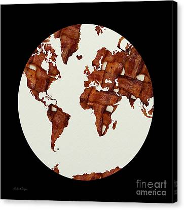 Snack Canvas Print - Bacon World 1 by Andee Design
