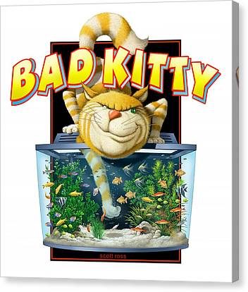 Bad Kitty Canvas Print by Scott Ross