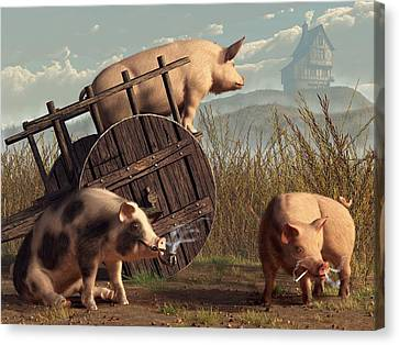 Bad Pigs Canvas Print by Daniel Eskridge