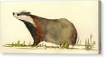 Badger Grass Canvas Print