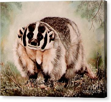Canvas Print featuring the painting Badger In The Mist by DiDi Higginbotham