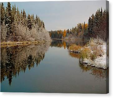Badger Slough On A Frosty Morning Canvas Print