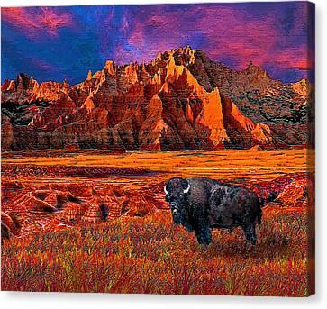 Badlands Bison American Icon Canvas Print