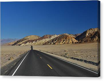 Canvas Print featuring the photograph Badwater Road - Death Valley by Dana Sohr