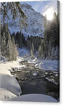 Baergunt Valley Kleinwalsertal Austria In Winter Canvas Print by Matthias Hauser