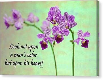 Bahai Purple Orchid Quote Canvas Print by Rudy Umans