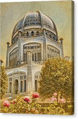 Garden Scene Canvas Print - Baha'i  Temple In Wilmette by Rudy Umans