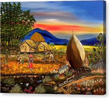Filipina Canvas Print - Bahay Kubo Philippines by Anna Baker
