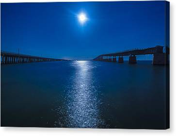 Florida Bridge Canvas Print - Bahia Moonrise by Dan Vidal