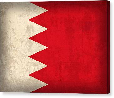 Middle East Canvas Print - Bahrain Flag Vintage Distressed Finish by Design Turnpike