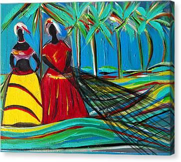 Baianas At The Shore Canvas Print by Fatima Neumann