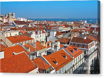 Baixa City Center Of Lisbon Panoramic View Canvas Print by Kiril Stanchev