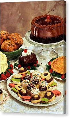 Baked Desserts And Cakes Canvas Print