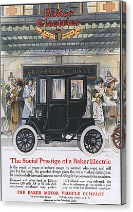 Baker Electric Cars 1910s Usa Canvas Print by The Advertising Archives