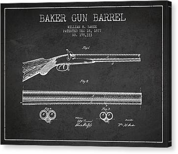 Baker Gun Barrel Patent Drawing From 1877- Dark Canvas Print by Aged Pixel