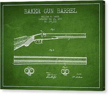 Baker Gun Barrel Patent Drawing From 1877- Green Canvas Print by Aged Pixel