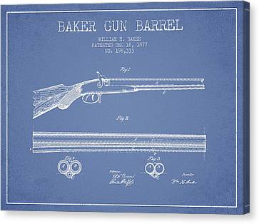 Baker Gun Barrel Patent Drawing From 1877- Light Blue Canvas Print by Aged Pixel