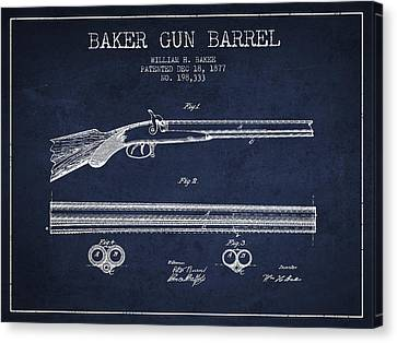 Baker Gun Barrel Patent Drawing From 1877- Navy Blue Canvas Print by Aged Pixel