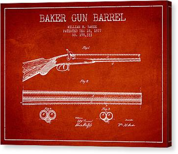 Baker Gun Barrel Patent Drawing From 1877- Red Canvas Print by Aged Pixel