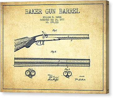 Baker Gun Barrel Patent Drawing From 1877- Vintage Canvas Print by Aged Pixel