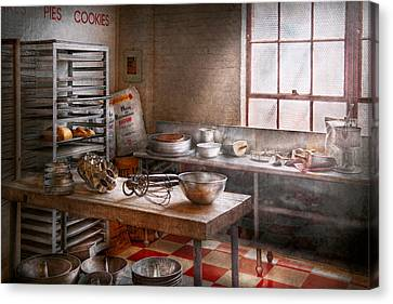Baker - Kitchen - The Commercial Bakery  Canvas Print by Mike Savad