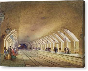 Baker Street Station, 1863 Wc & Bodycolour With Pen & Ink On Paper Canvas Print