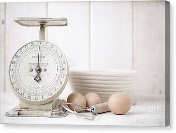 Baking Time Vintage Kitchen Scale Canvas Print by Edward Fielding