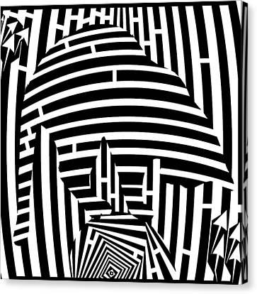 Balancing Cat Maze Canvas Print by Yonatan Frimer Maze Artist
