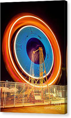 Balboa Fun Zone Ferris Wheel At Night Picture Canvas Print by Paul Velgos