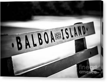 Balboa Island Bench In Newport Beach California Canvas Print by Paul Velgos