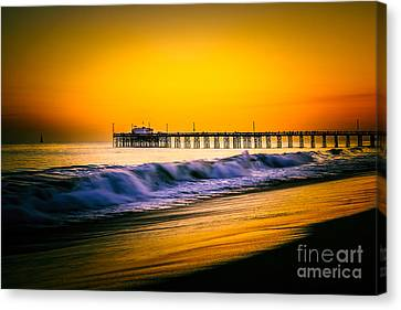 Balboa Pier Picture At Sunset In Orange County California Canvas Print by Paul Velgos