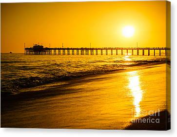 Balboa Pier Sunset In Orange County California Picture Canvas Print by Paul Velgos
