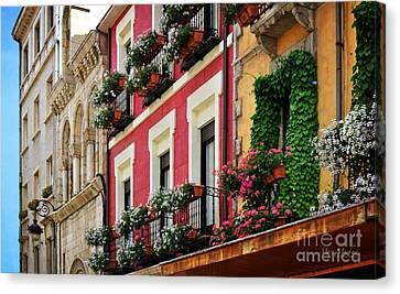 Balconies Of Leon Canvas Print by Mary Machare