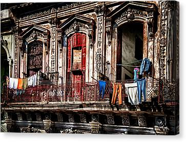 Balcony In Old Havana  Canvas Print by Patrick Boening