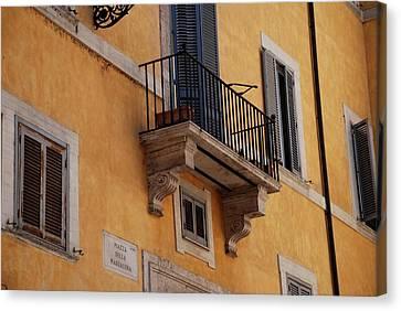 Canvas Print featuring the photograph Balcony Piazza Della Madallena In Roma by Dany Lison