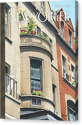 City Scenes Canvas Print - Balcony Scene by Harry Bliss