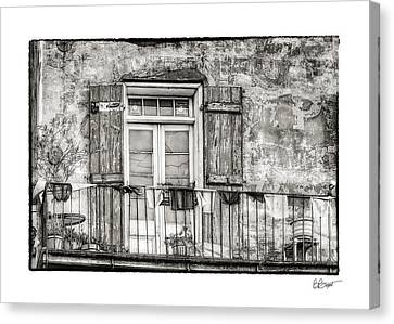 Balcony View In Black And White Canvas Print by Brenda Bryant