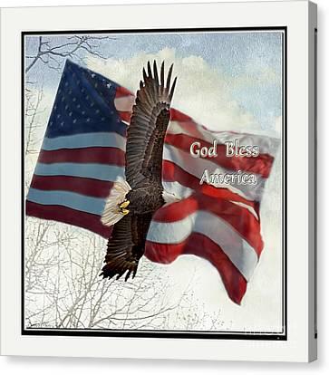Bald Eagle  God Bless America Canvas Print by Debbie Portwood