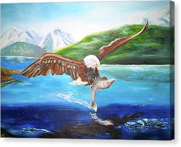 Canvas Print featuring the painting Bald Eagle Having Dinner by Thomas J Herring