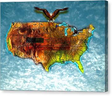 Bald Eagle U.s. Map Canvas Print by Daniel Janda