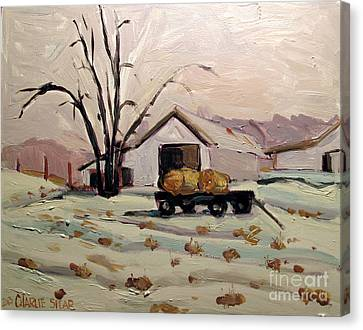 Indiana Landscapes Canvas Print - Bale Wagon  by Charlie Spear