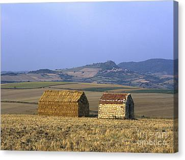 Bales Of Straw Stacked In The Shape Of A House Next To A Little Stone House. Limagne. Auvergne. Fran Canvas Print by Bernard Jaubert