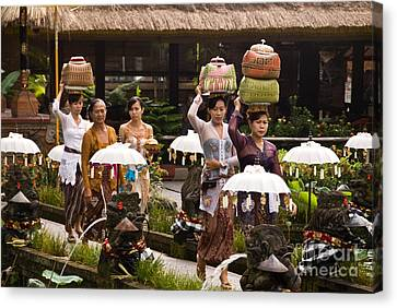Basket Head Canvas Print - Bali Temple Offerings by Rick Piper Photography