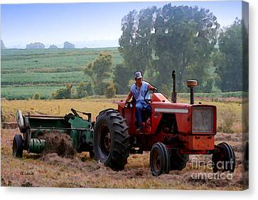 Baling Hay Canvas Print by E B Schmidt