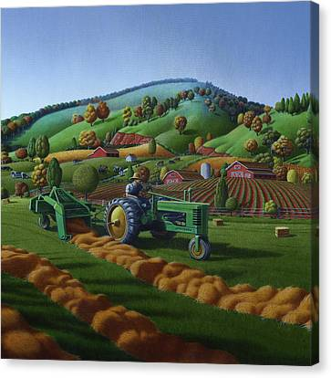 Baling Hay Field - John Deere Tractor - Farm Country Landscape Square Format Canvas Print by Walt Curlee