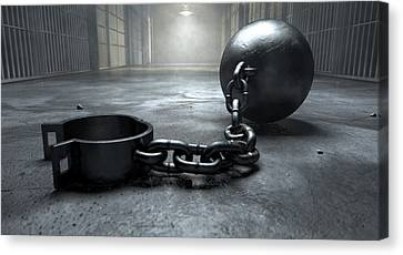 Ball And Chain In Prison Canvas Print