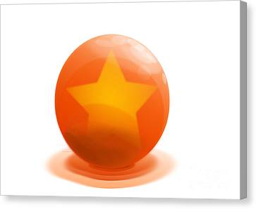 Canvas Print featuring the sculpture orange Ball decorated with star white background by R Muirhead Art